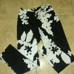 Lafayette 148 white black floral Ankle pants